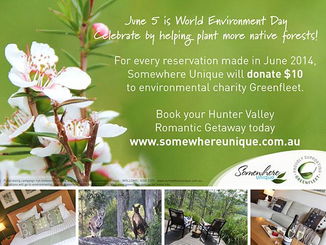 Somewhere Unique celebrates World Environment Day, Hunter Valley Romantic Accommodation