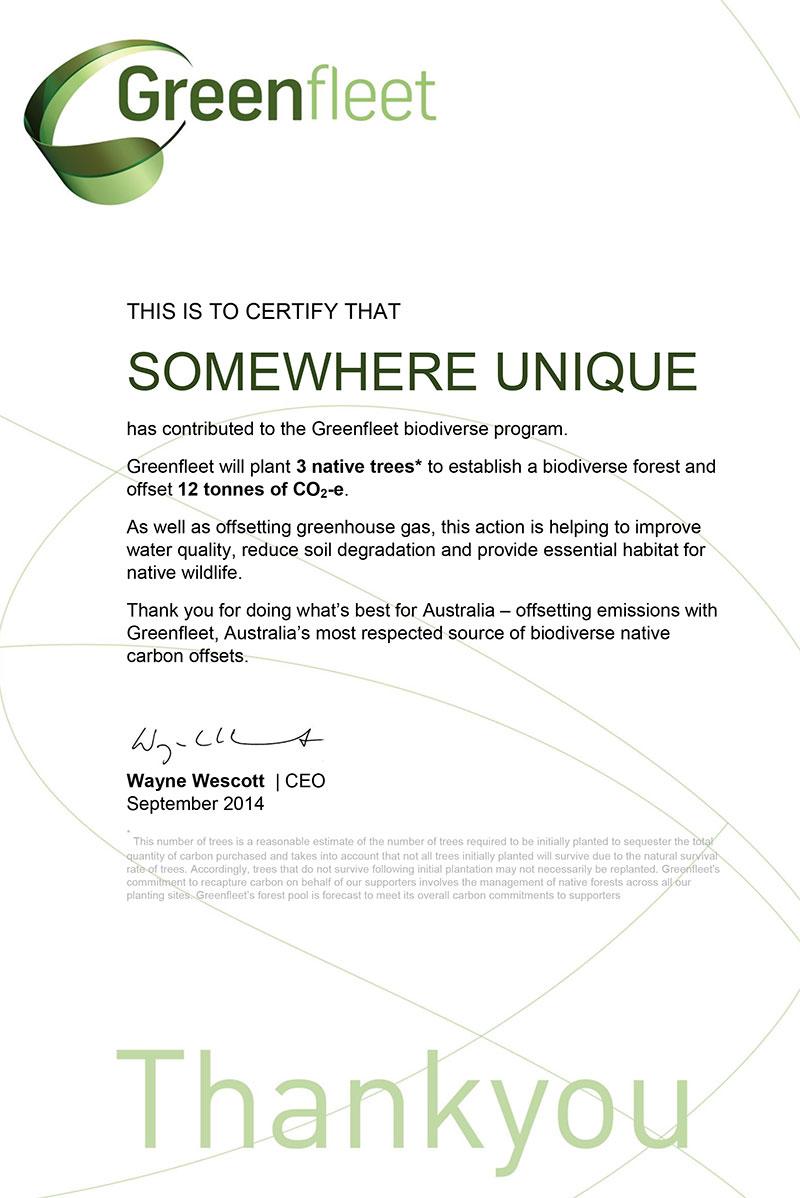 Greenfleet-Certificate---LPG-offset-Somewhere-unique-Sept-2014